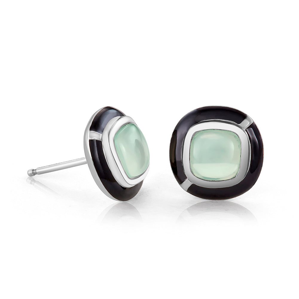 MINI GEO GREEN CHALCEDONY EARRING BLACK