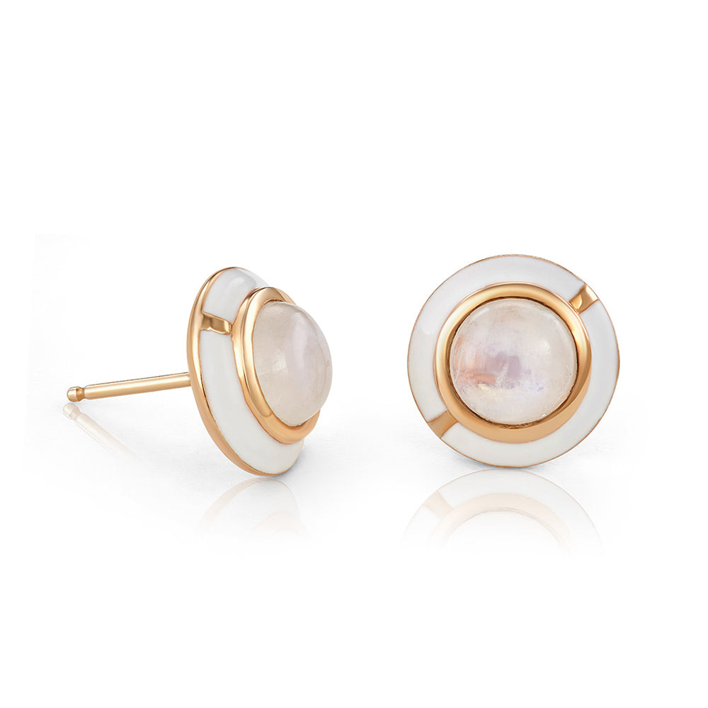 MINI GEO MOONSTONE EARRING