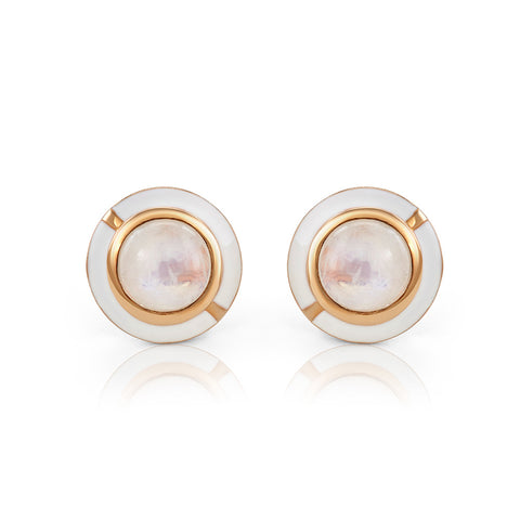 MINI GEO PINK CHALCEDONY EARRING BLACK