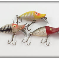Heddon Tiny Runt Lot Of Three: Yellow Shore, Silver Shore, & Red Head Flitter