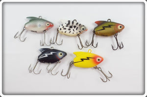 Heddon Sonic Lot Of Five: Shad, Coachdog, Perch, Black, & Yellow