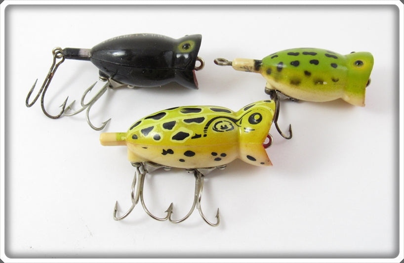 Fred Arbogast Hula Popper Lot Of Three: Natural Frog, Black, & Frog