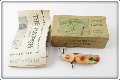 Vintage Helin White Spotted Fly Rod Flatfish Lure In Box