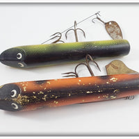 Unknown Pair Of Muskie Lures: Orange/Black & Perch