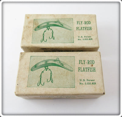 Vintage Helin Empty Fly Rod Flatfish Lure Box Pair