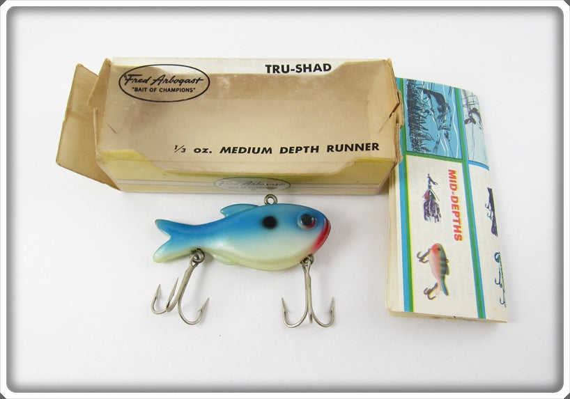 Arbogast Blue & White Tru Shad In Correct Box 12 BL