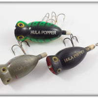 Arbogast Hula Popper Lot Of Three: Black, Grey Scale, GRA