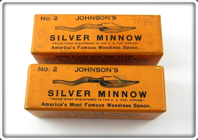 Johnson's Pair Of Empty Boxes For Silver Minnow