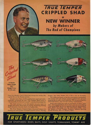 1942 True Temper Crippled Shad & Speed Shad Two Sided Ad