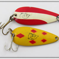 Eppinger Red/White & Yellow/Red Dardevle Spinnie Pair