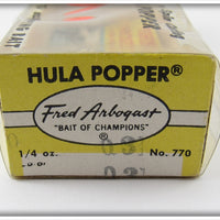 Arbogast Yellow Silver Ribs 1/4 Oz Hula Popper In Box