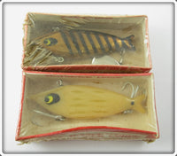 Vintage Smithwick Bone & Gold Black Stripes Water Gater Lure Pair