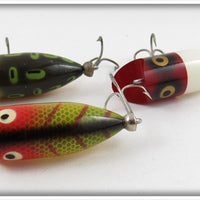 Heddon Tiny Lucky 13 Lot Of Three: Bullfrog, Red/White, & Perch