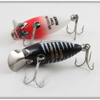 Heddon Red Head White & Black Shore Tiny Runt Pair
