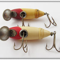 South Bend Red Arrowhead White Fish Obite Pair