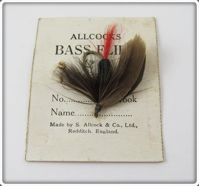 Vintage Allcocks Bass Flies Black Gnat Fly Rod Lure On Card