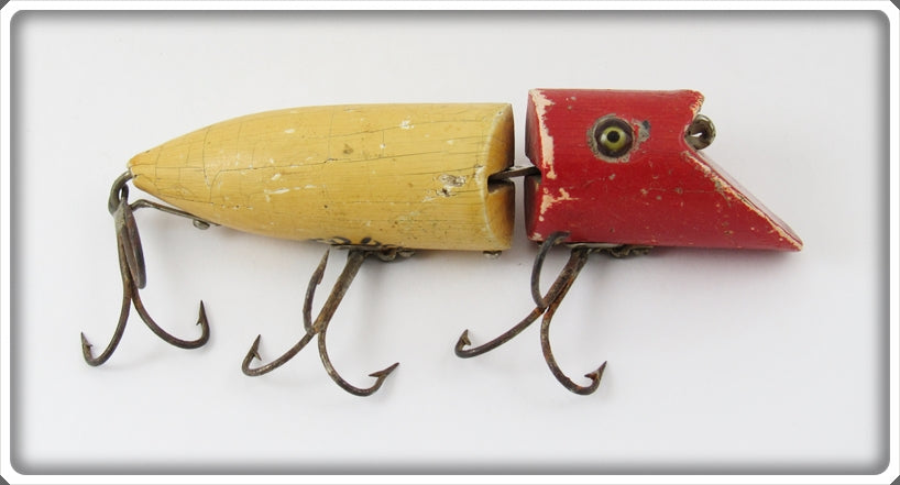 Vintage Heddon Red Head White Zig Wag Lure