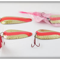 Gold & Red Spoon Lot Of Four
