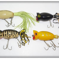 Arbogast Hula Popper Lot: Lum, Black, Yellow Shore, And Coachdog