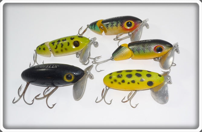 Arbogast Jitterbug Lot: Frog, Perch, And Black