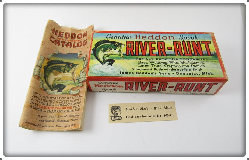 Vintage Heddon Pike Scale Jointed River Runt Empty Box 9430M