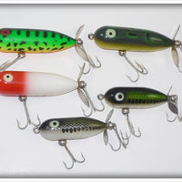Heddon Tiny Torpedo And Baby Torpedo Lot: GRA, BullFrog, Red/White, And Baby Bass