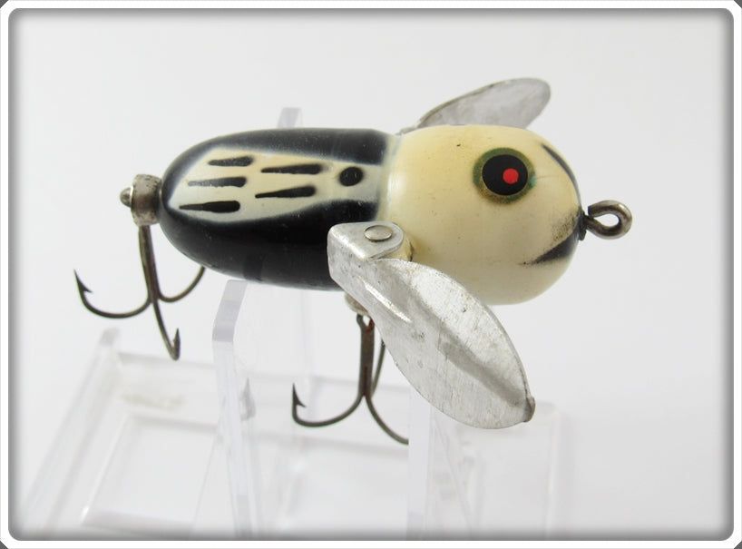 Vintage Heddon Black White Head Tiny Crazy Crawler Lure