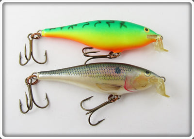 Vintage Rapala Fire Tiger & Natural Shallow Rap Lure Pair