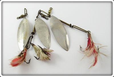 Vintage Pflueger 4 Brothers Willow Leaf Lot Of Three Lures