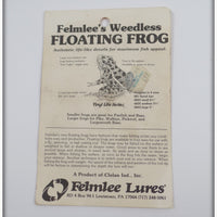 Felmlee's Green Weedless Floating Frog With Card