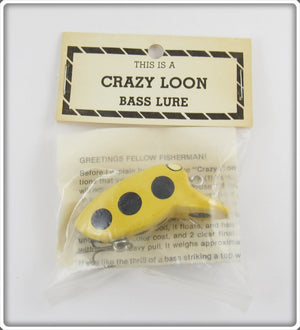 Myers Lure Co Yellow With Black Spots Crazy Loon In Package