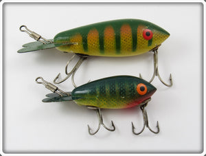 Vintage Bomber Yellow Perch Model 300 & 500 Lure Pair