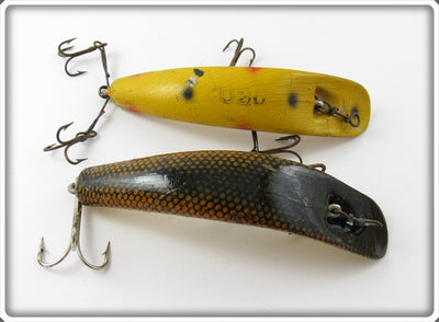 Vintage Helin Yellow Spotted & Orange Scale Flatfish Lure Pair