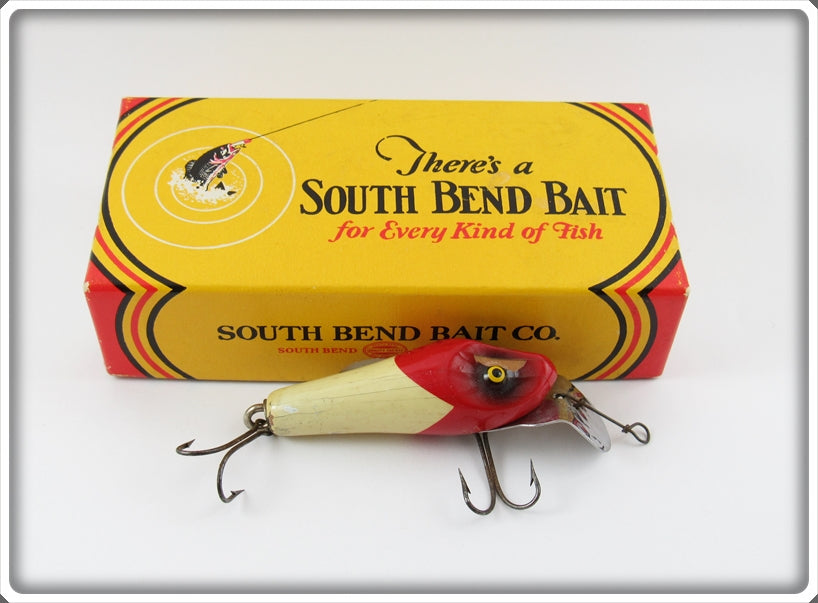 South Bend Red Arrowhead White Body Rascal Lure In Box 955 RW
