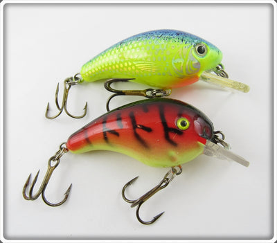 Vintage Unknown Chartreuse & Crawdad Crankbait Lure Pair