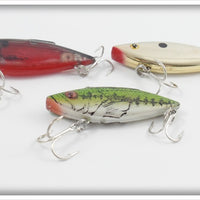 Bill Lewis Rat'l Trap Lot Of Three: Yearling Bass, Chrome, & Lectric Red
