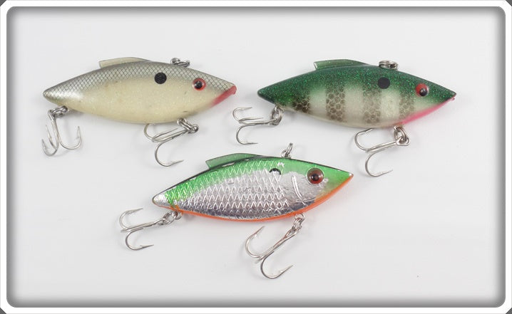 Cordell Rattle Spot Lot Of Three: Perch, Green/Chrome, & Shad