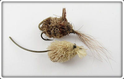 Vintage Deer Hair Brown & White Fly Rod Mouse Lure Pair