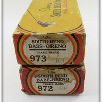 South Bend Pair Of Empty Boxes: Red Head Bass Oreno & Babe Oreno 973 RH 972