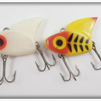 Lazy Ike Sail Shark Pair: White & Yellow W/Black Ribs