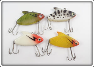 Heddon Super Sonic Lot Of Four: Yellow/Red, White/Red, Coachdog, & Yellow Perch