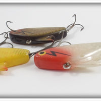 Heddon Super Sonic Lot Of Three: Yellow/Red, Gold/Red & Transparent/Red