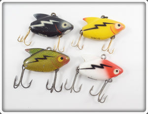 Heddon Sonic Lot Of Four: Yellow, Black, Perch, & Red/White