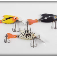 Heddon Firetail Sonic Lot Of Three: Yellow, Coachdog, & Black