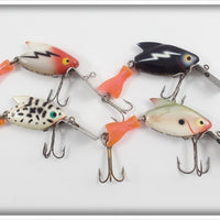Heddon Firetail Sonic Lot Of Four: White/Red, Black, Coachdog, & Shad