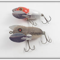 Heddon Tiny Crazy Crawler Pair: Mouse & Red & White Shore