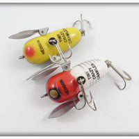 Heddon Tiny Crazy Crawler Pair: Red/White Shore & Bullfrog