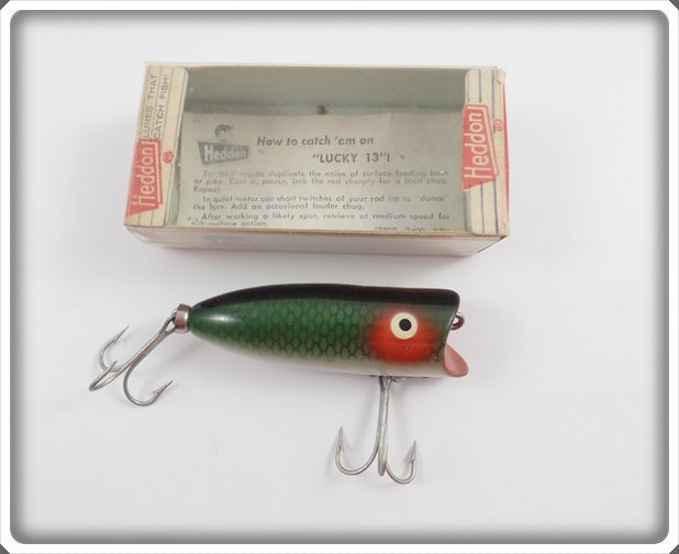 Heddon Green Scale Baby Lucky 13 In Correct Box