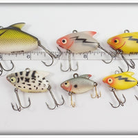 Heddon Sonic Lot Of Six: Perch, Clear, Yellow, Coachdog, & Shad