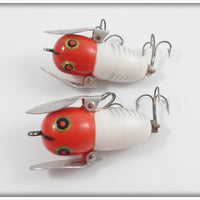 Heddon Red & White Shore Tiny Crazy Crawler Pair